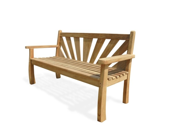 "A Windsor Exclusive ...... ""Sunburst"" Design Teak Bench 3 Seater"