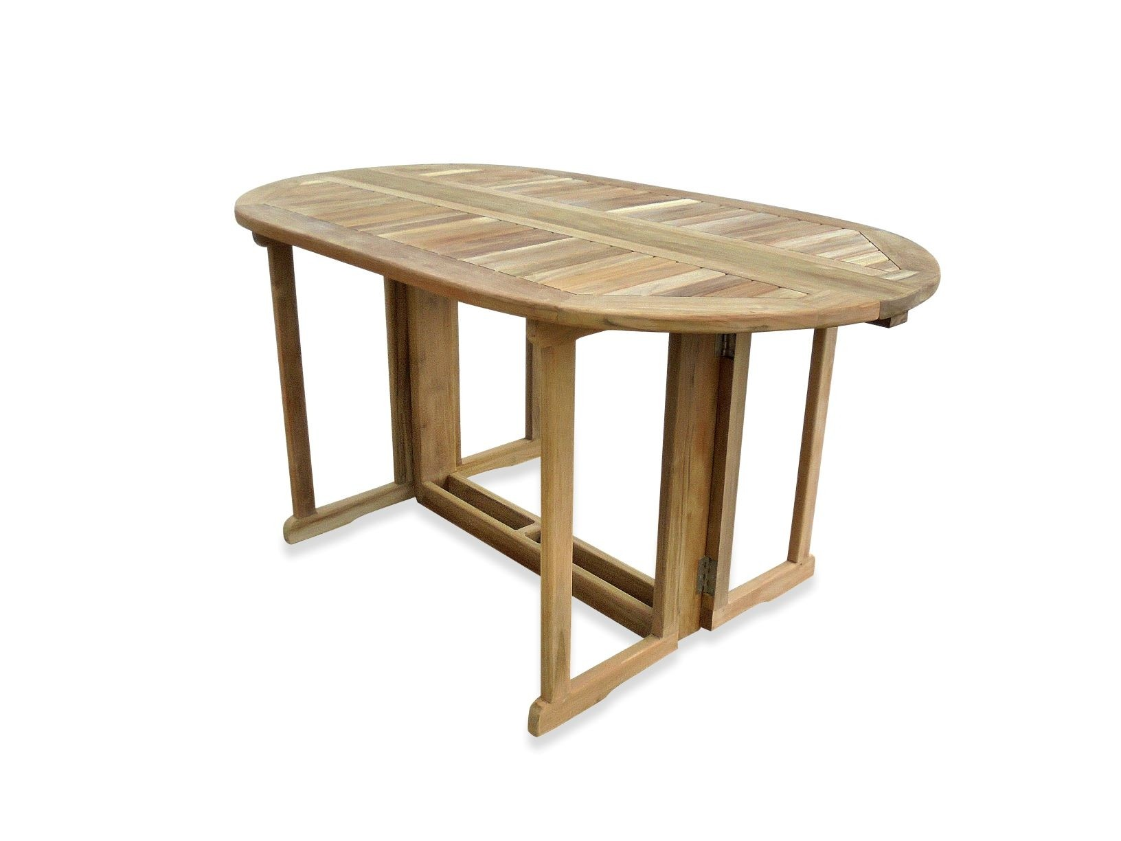 "Barcelona 60"" x 35"" Oval Drop Leaf Folding Dining Teak Table...use with 1 Leaf Up or 2.... Makes 2 different tables"