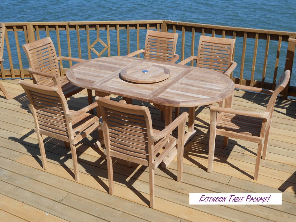 "Buckingham 66"" x 39"" Oval Double Leaf Teak Extension Table W/6 Casa Blanca Stacking ArmChairs"
