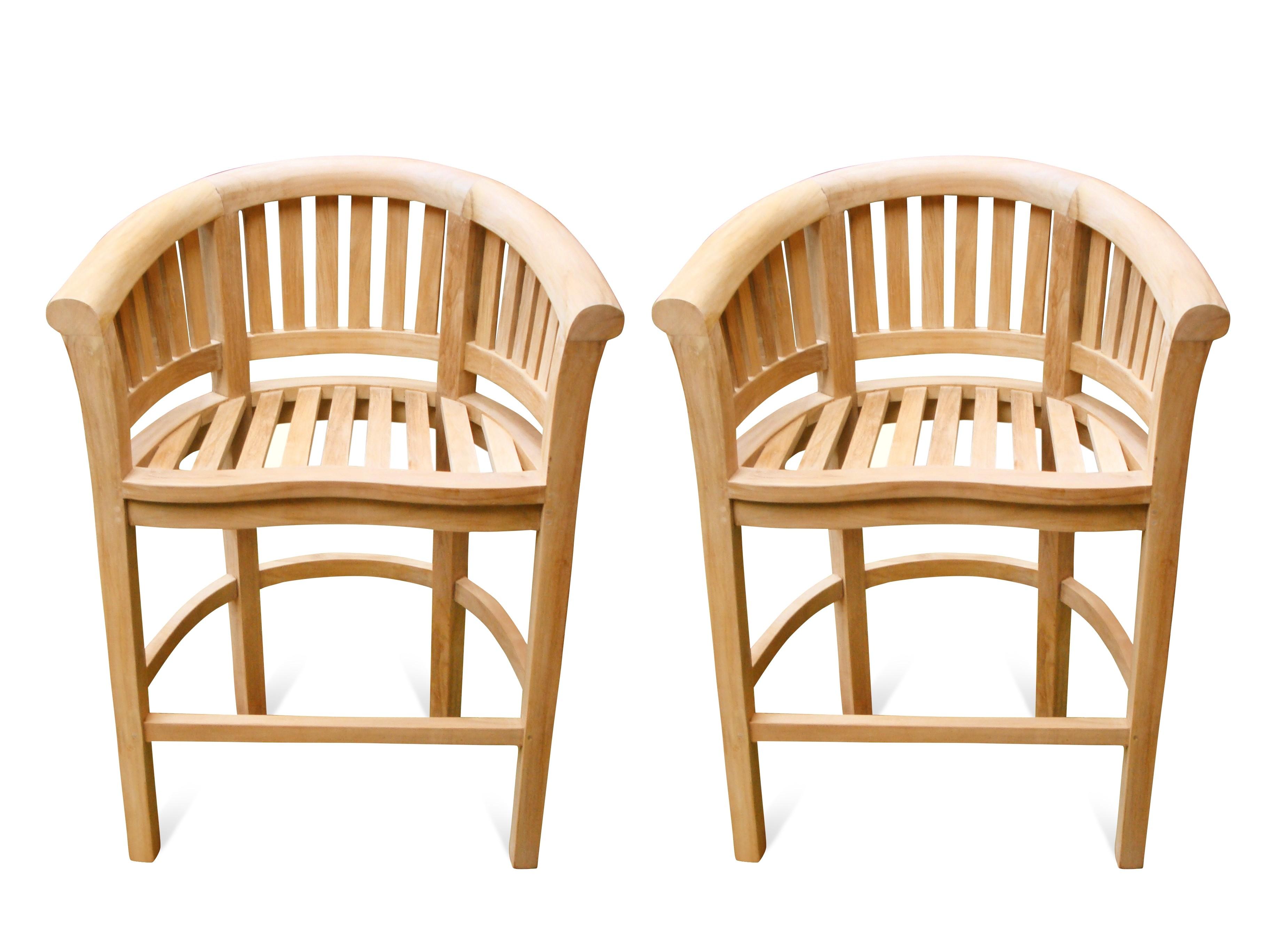 Kensington Curved Teak Arm Bar chair. 2 Pack