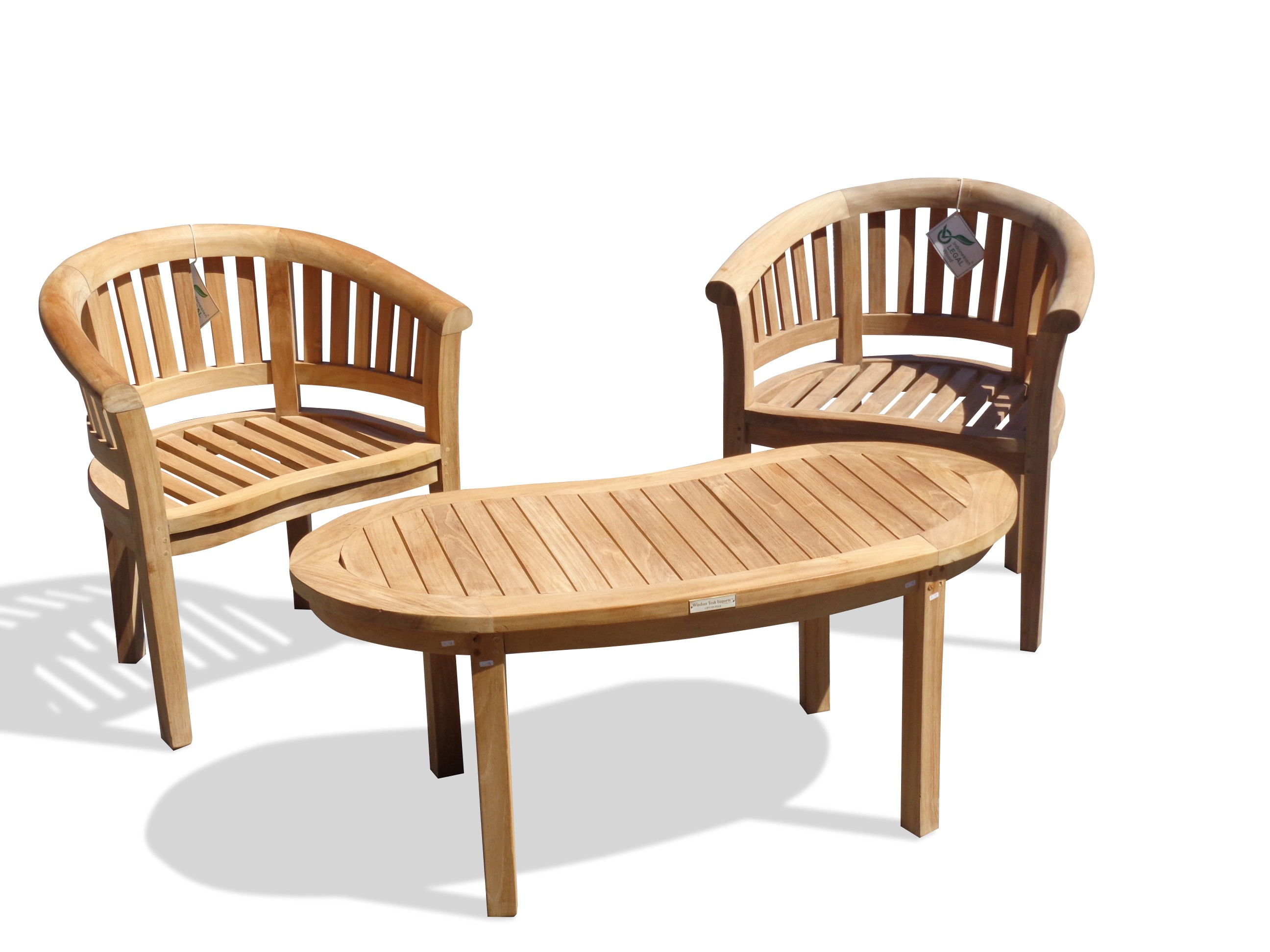 "Kensington Teak 3 Pc Set, 2 Curved Armchairs and a 47"" Kidney Coffee Table"