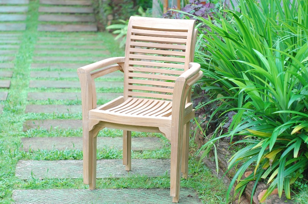 Casa Blanca Teak Stacking Arm Chair Designer Look. Comes Assembled. Priced and Packed 4 per Box