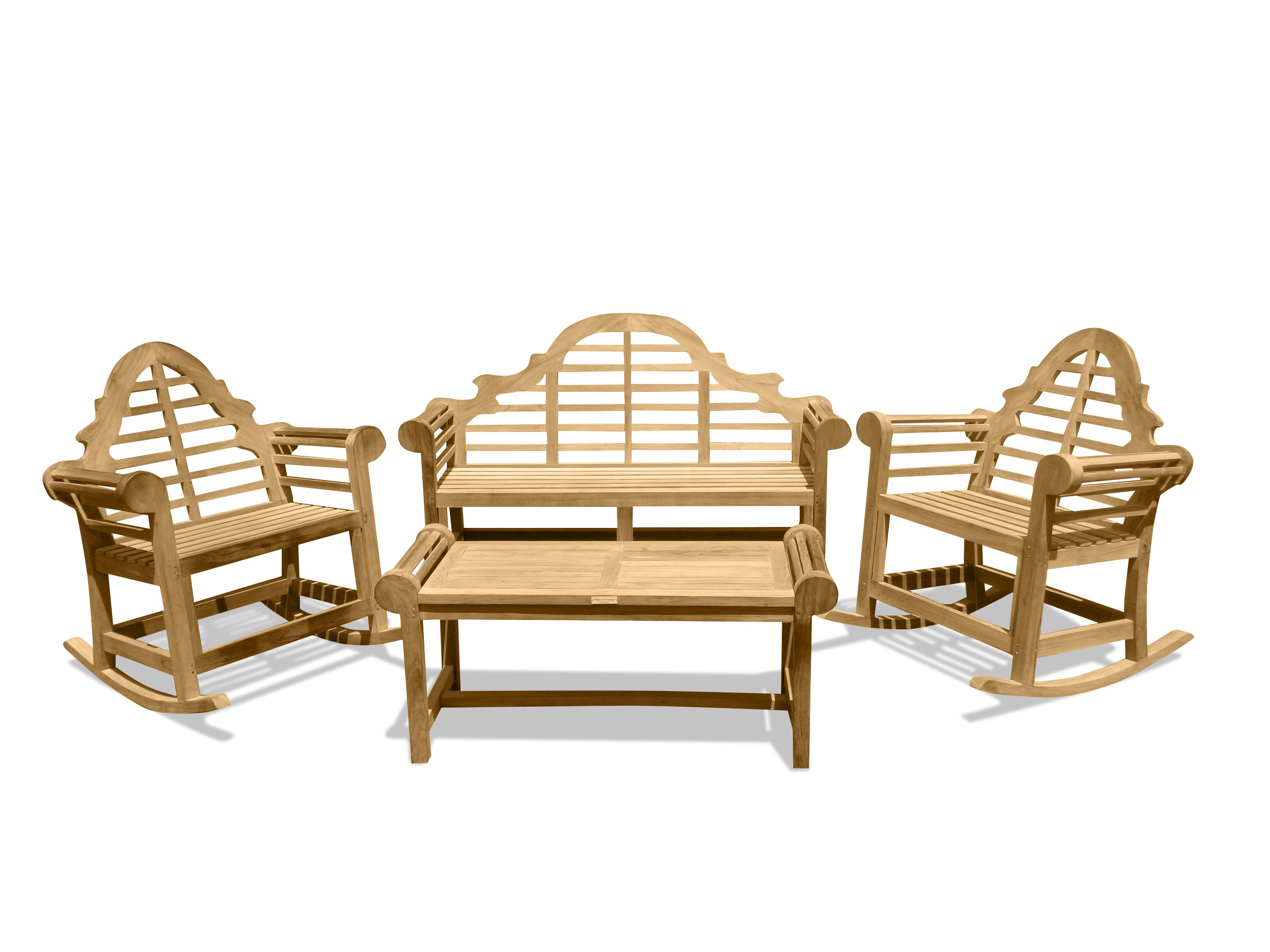 Lutyens 3-Seater Bench, 2 Single Rockers, & Table