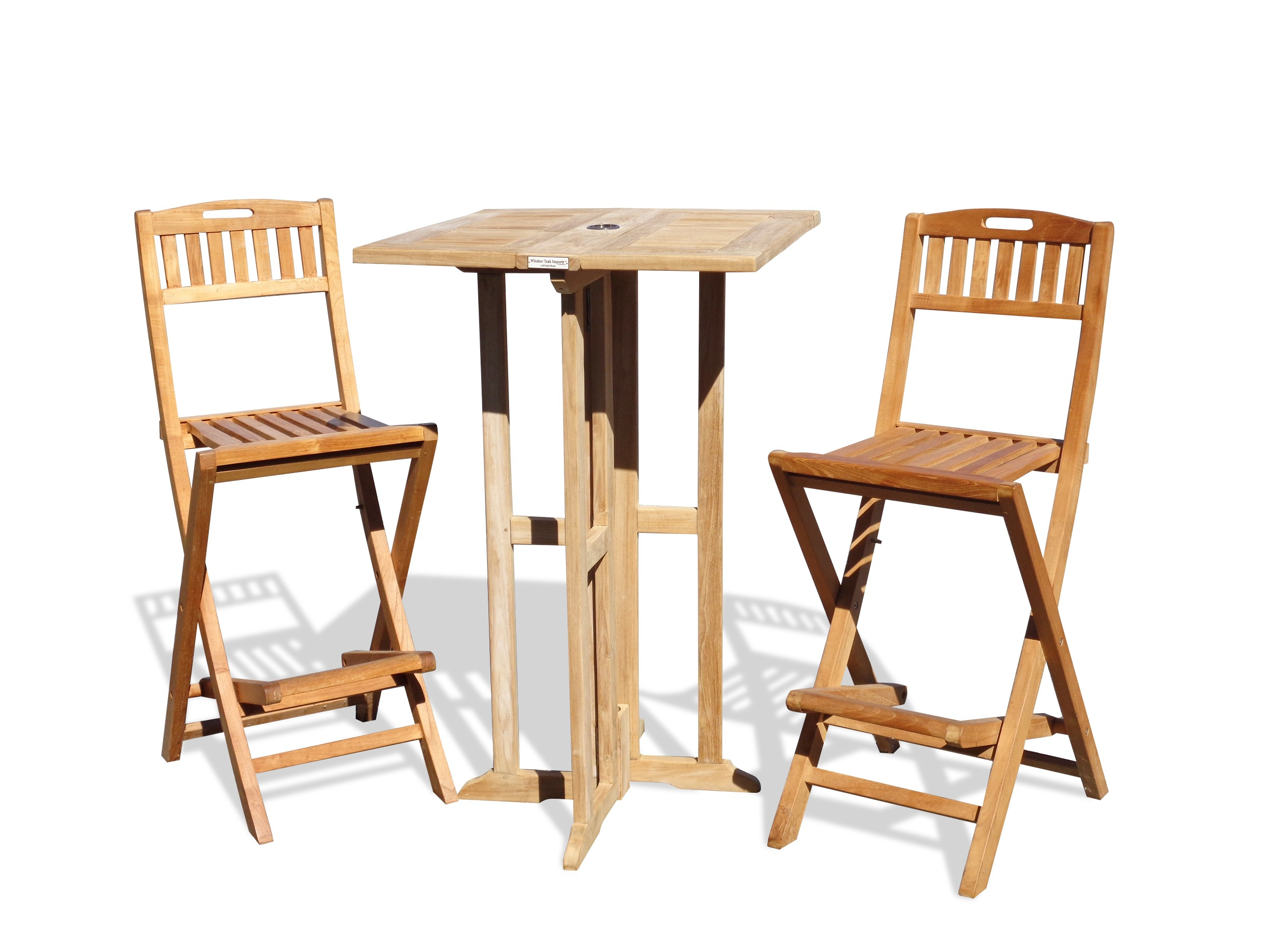 "Nassau 27"" Square Drop Leaf Folding Bar Table w/2 Mallorca Folding Bar Chairs"
