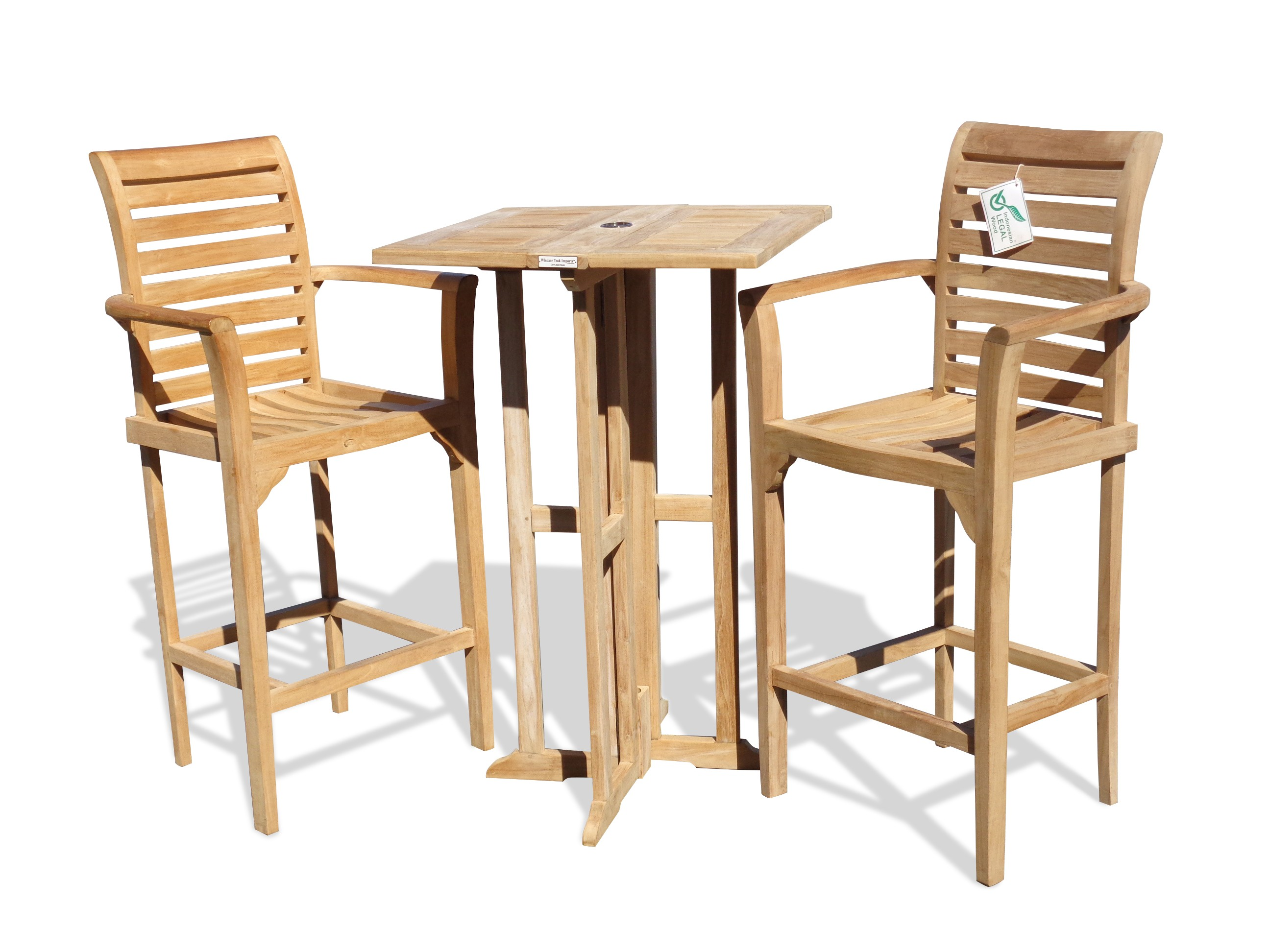 "Bimini 27"" Square Drop Leaf Folding Counter Table w/2 St. Moritz Counter Chairs (Counter Height is 5"" Lower Than Bar)"