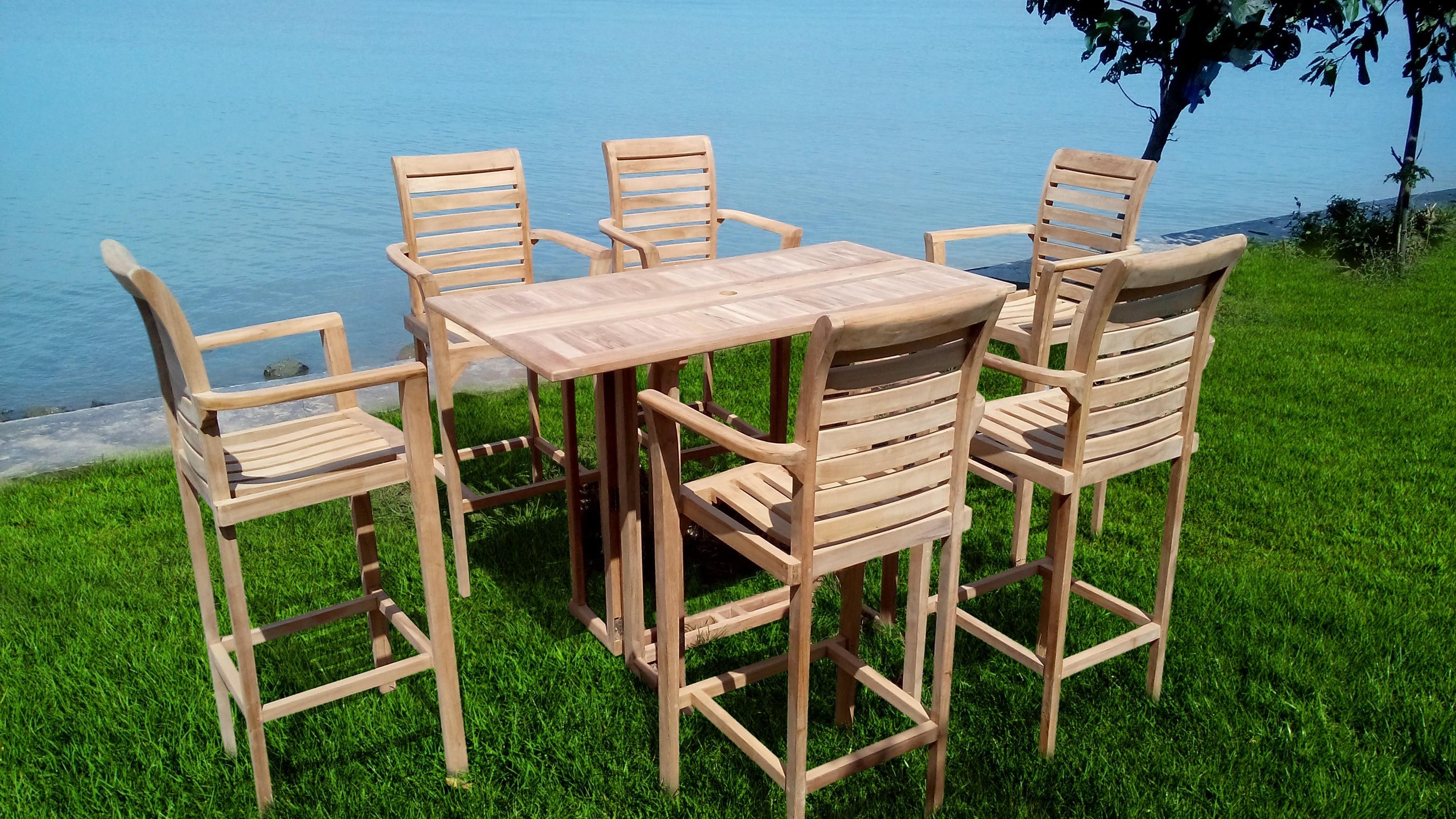 "Nassau 59"" x 31"" Rectangular Teak Drop Leaf Bar Table...use with 1 Leaf Up or 2.... Makes 2 different tables"