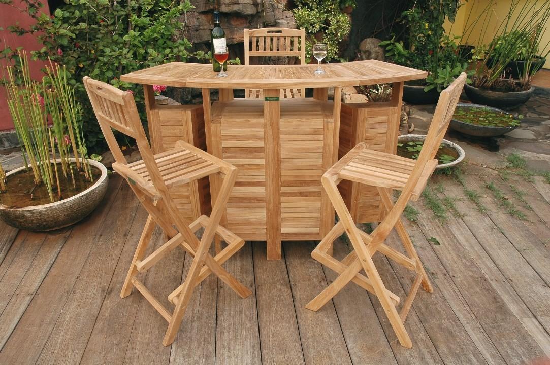 Grand Cayman Folding Teak Bar Table W/3 Mallorca Folding Teak Bar Chairs