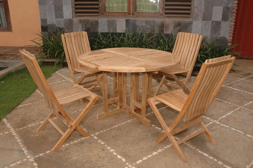 "Barcelona 47"" Round Drop Leaf Folding Teak Table W/4 Java Teak Folding Chairs"