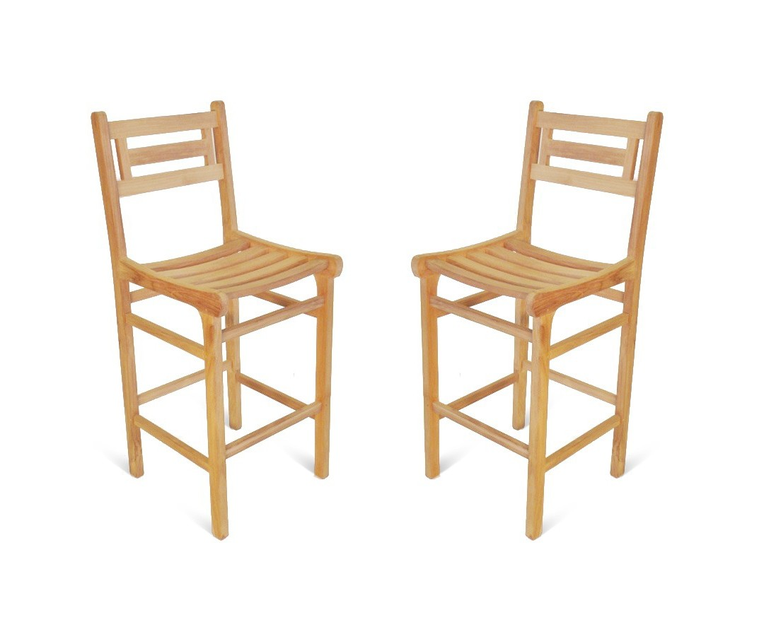 "Seville Teak Counter Chair (Counter height is 5"" lower than bar) -2 Pack"