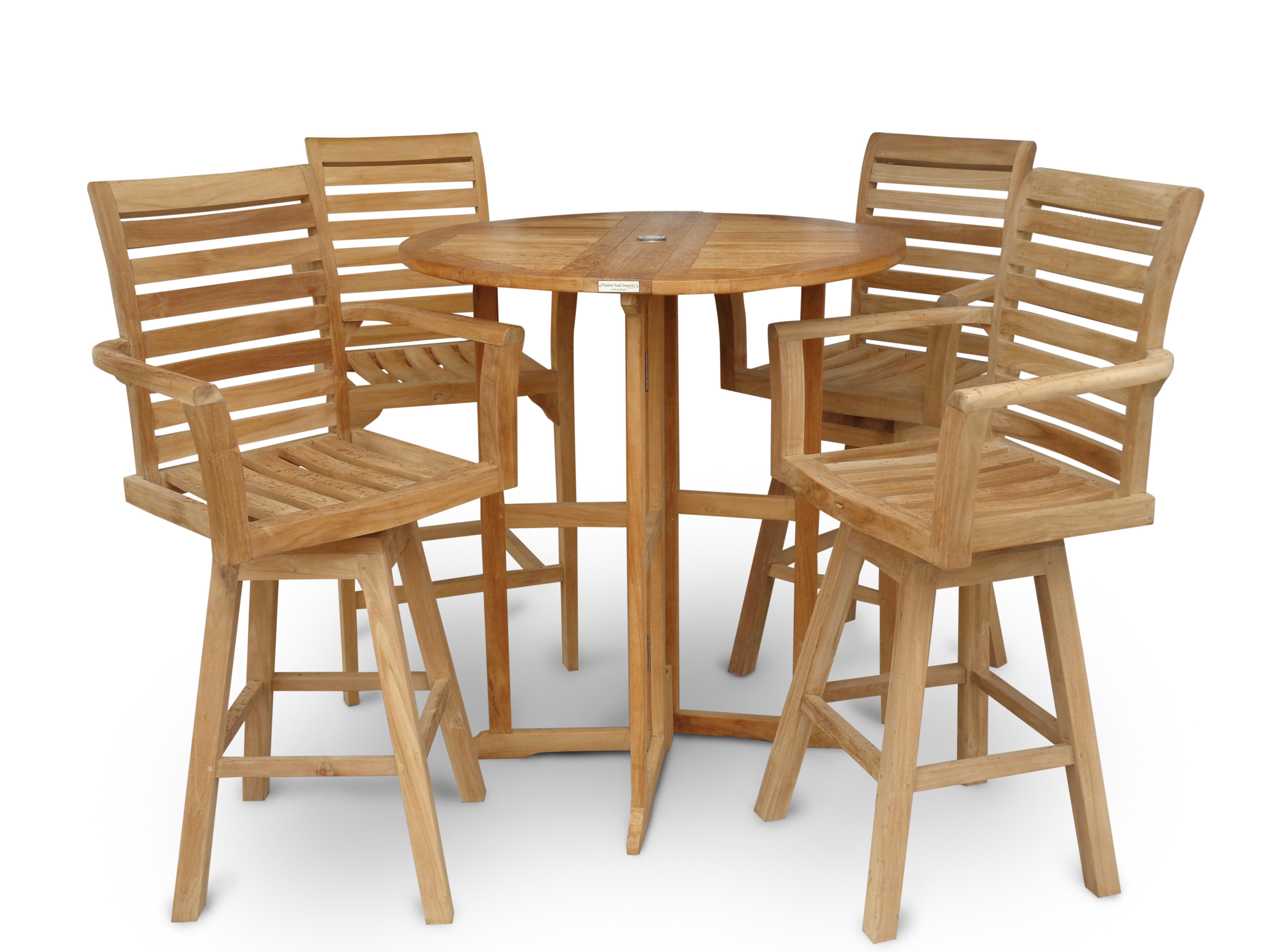 Nassau 39 Round Teak Drop Leaf Folding Bar Table w 4 St. Moritz Swivel Bar Chairs