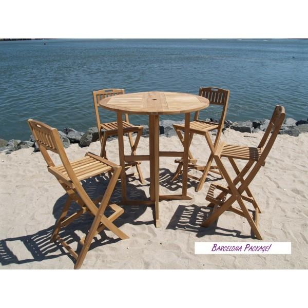 "Nassau 39"" Round Drop Leaf Folding Teak Bar Table W/4 Mallorca Folding Teak Bar Chairs"