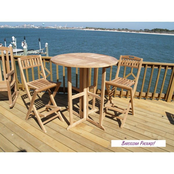 "Nassau 39"" Round Drop Leaf Folding Teak Bar Table W/2 Mallorca Folding Teak Bar Chairs"
