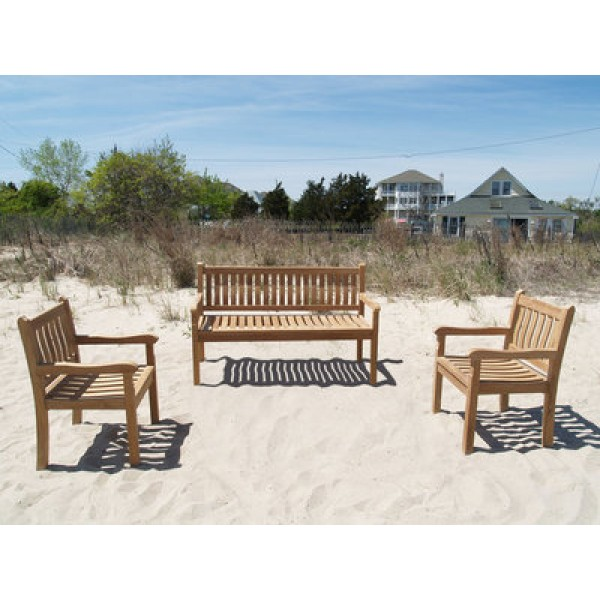 """Windsor Teak 3 Pc Outdoor Collection, One 59"""" 3 Seater Bench, W/2 Armchairs"""