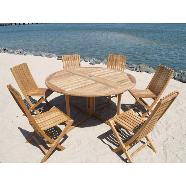 "Barcelona 59"" Round Drop Leaf Teak Table W/6 Java Folding Teak Chairs"