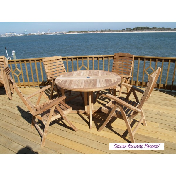 "Barcelona 39"" Round Drop Leaf Folding Teak Table W/4 Chelsea 5 Position Reclining Teak Folding Chairs"