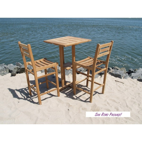 "San Remo 27"" Square Teak Bar Table W/Shelf & 2 Seville Teak Bar Chairs"