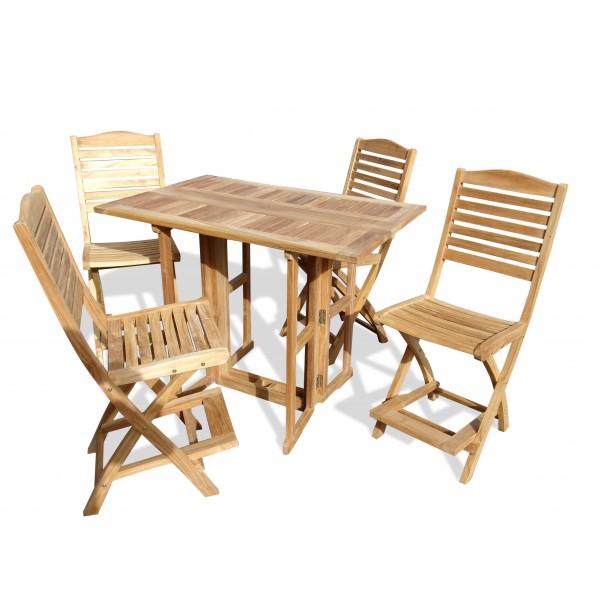 "Bimini 48"" x 31"" Rectangular Drop Leaf Folding Counter Table W/4 St. Barts Folding Counter Chairs (Counter height is 5"" lower than bar)"