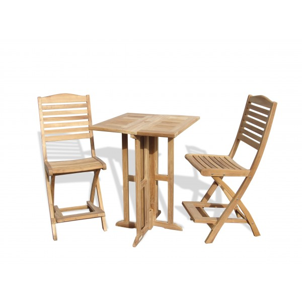 """Bimini 27"""" Square Drop Leaf Folding Counter Table w/2 St Barts Folding Counter Chairs (bar is 5"""" higher then counter)"""