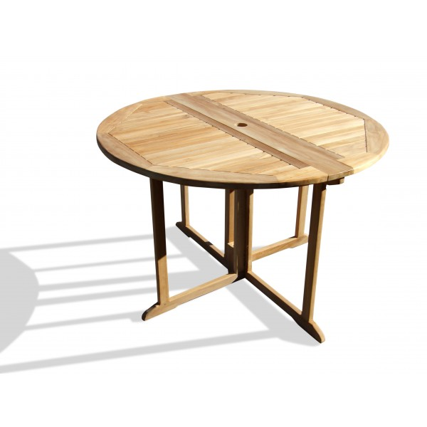 "Barcelona Round Drop Leaf Folding 47"" Teak Dining Table ...use with 1 Leaf Up or 2.... Makes 2 different tables..."