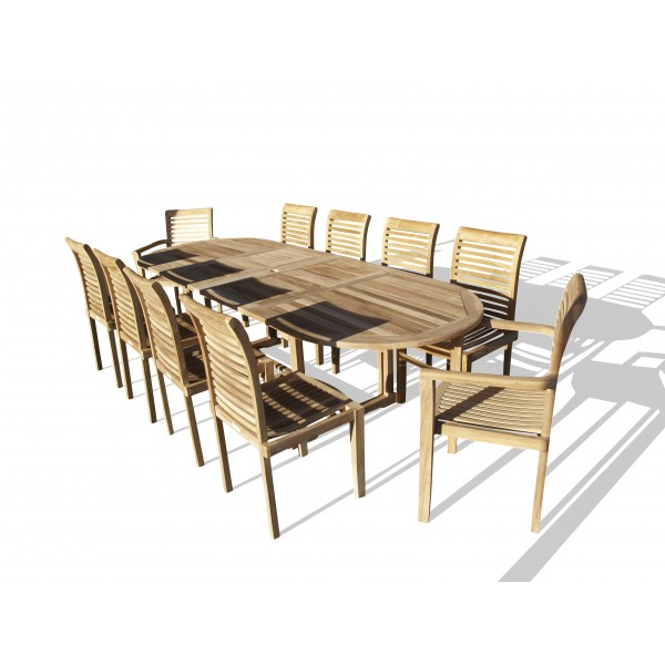 """Buckingham 108"""" x 39"""" Oval Double Leaf Extension Teak Table W/10 Casa Blanca Stacking Chairs- 2/w Arms & 8 w/o Arms..seats 10"""