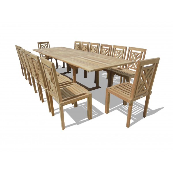 "Buckingham 118"" x 39"" Double Leaf Extension Teak Table W/14 Chippendale Stacking Chairs...seats 14"