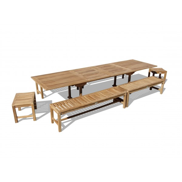 """Buckingham 138"""" x 39"""" (11 1/2 Feet Long) Double Leaf Rectangular Extension Table w/6 Backless Benches...Seats 16 Adults"""
