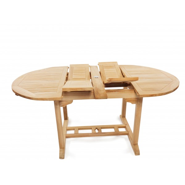 "Buckingham 66"" x 39"" Double Leaf Oval Teak Extension Table...Seats 6...makes 3 Different Size Tables"