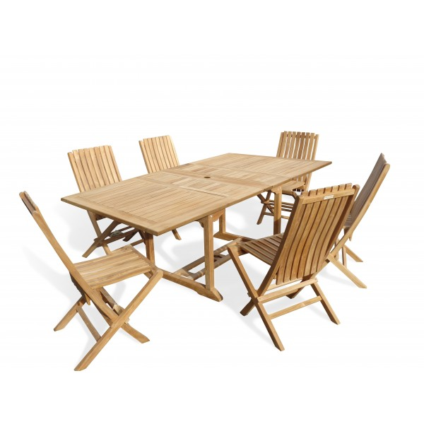 "Buckingham 82"" x 39"" Double Leaf Rectangular Extension Teak Table W/ 6 Java Folding Chairs w/ Lumbar Support ."