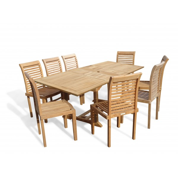 "Buckingham 82"" x 39"" Double Leaf Rectangular Extension Teak Table W/8 Casa Blanca Armless Stacking Chairs."