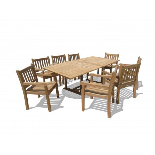 "Buckingham 82 x 39"" Rectangular Double Leaf Teak Extension Table w/ 8 Majestic Windsor Arm Chairs...seats 8"