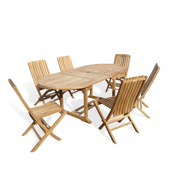 "Buckingham 82"" x 39"" Double Leaf Oval Extension Teak Table W/6 Java Folding Chairs w/ Lumbar Support ."