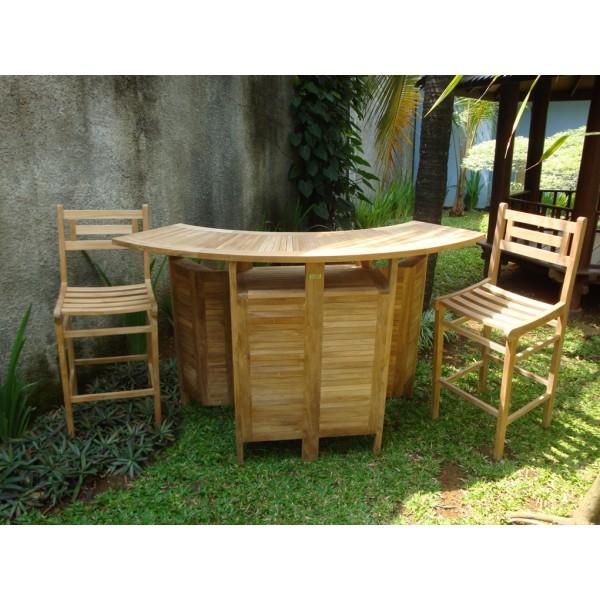 Grand Cayman Folding Teak Bar Table W/2 Seville Bar Chairs