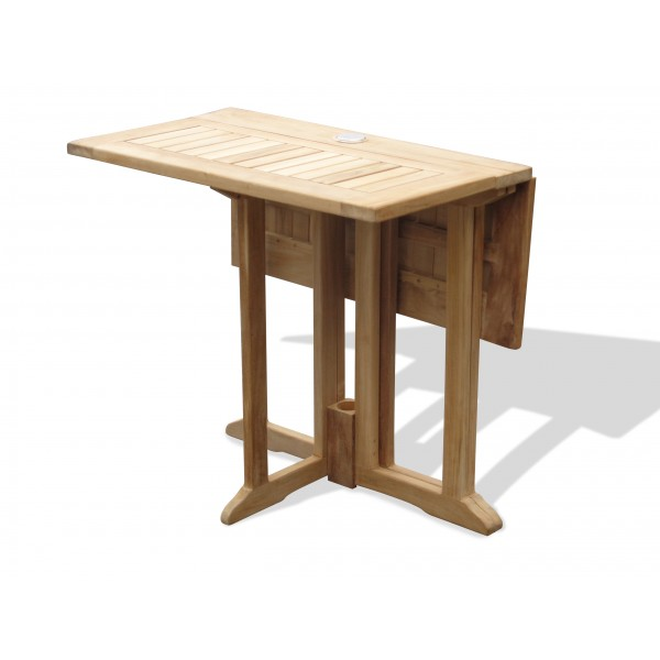 """Barcelona 27"""" Square Drop Leaf Folding Teak Table...Use With 1 Leaf Up Or 2.... Makes 2 Different Tables"""