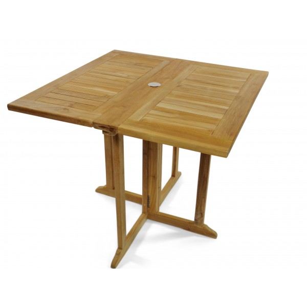 "Barcelona 27"" Square Drop Leaf Folding Teak Table...Use With 1 Leaf Up Or 2.... Makes 2 Different Tables"