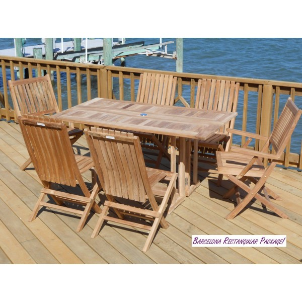 """Barcelona 59"""" x 31"""" Rectangular Drop Leaf Dining Teak Table...use with 1 Leaf Up or 2.... Makes 2 different tables"""