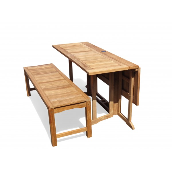"Barcelona 59"" x 39"" Rectangular Drop Leaf Dining Teak Table...use with 1 Leaf Up or 2.... Makes 2 different tables"