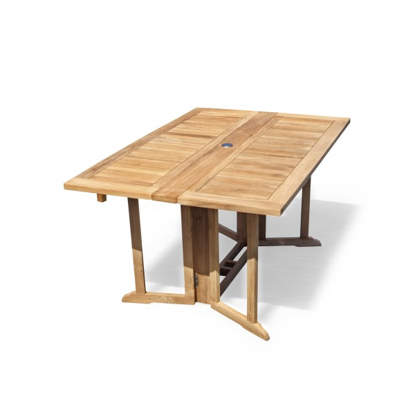 "Barcelona 59"" x 39"" Rectangular Drop Leaf Folding Dining Teak Table...use with 1 Leaf Up or 2.... Makes 2 different tables"