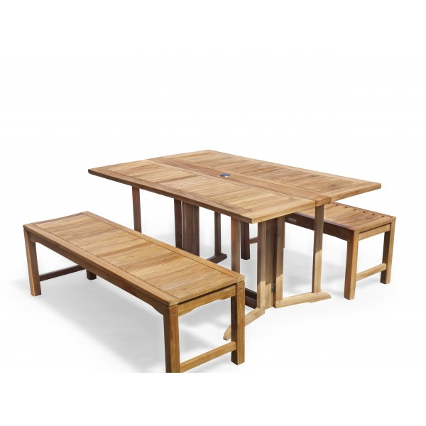 "Barcelona 59"" x 39"" Rectangular Drop Leaf Folding Teak Table W/two 59"" Backless Benches...Seats 6 Adults"