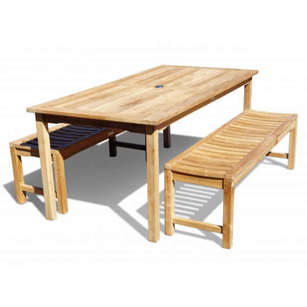 "Cannes 82"" x 35"" Rectangular Dining Table w/Two 72"" Contoured Seat Backless Benches ...seats 8...add 2 Chairs & seat 10"