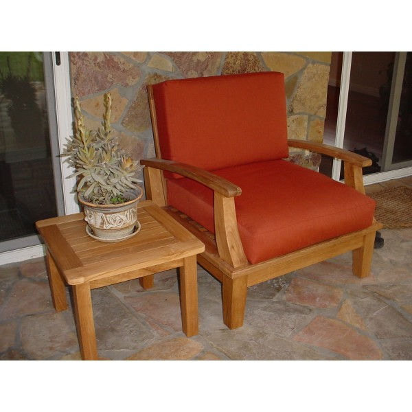 Portofino Deep Seating Teak Armchair w/ Sunbrella Cushions