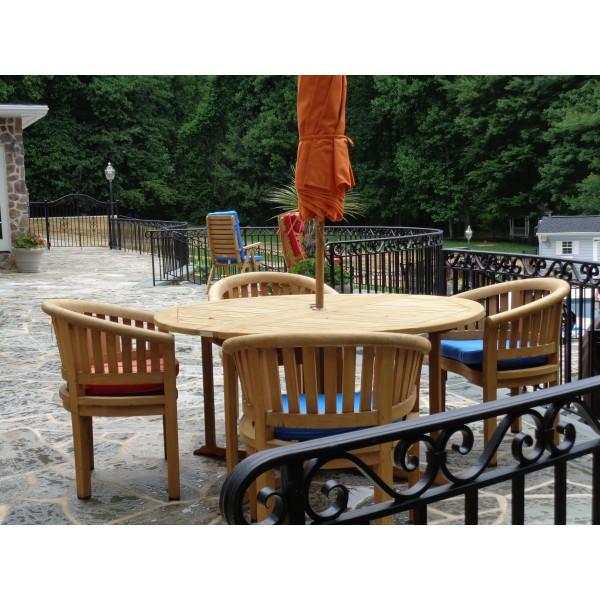 "Barcelona 59"" Round Drop Leaf Folding Teak Table W/4 Kensington Curved Arm Chairs"