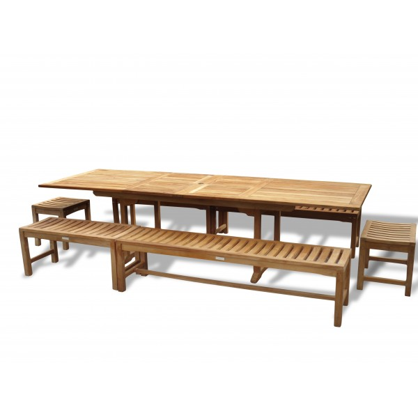 """Buckingham 118"""" x 39"""" Double Leaf Rectangular Extension Table w/6 Backless Benches...Seats 14"""
