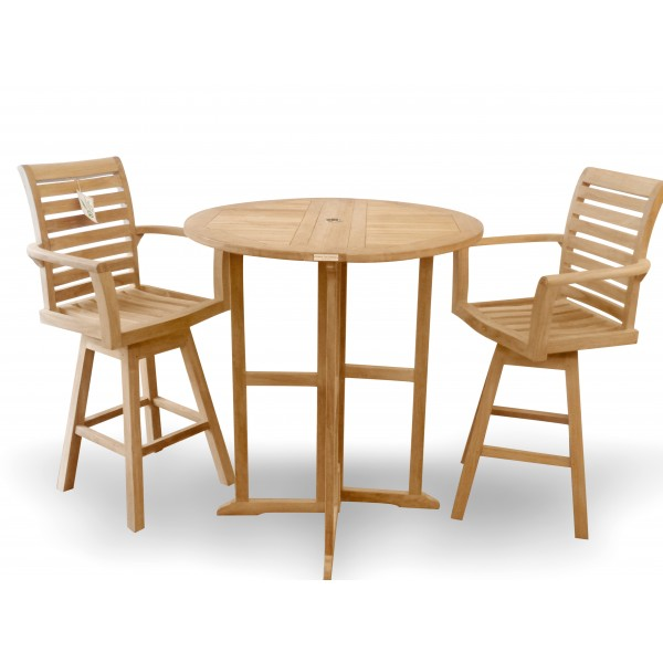 Nassau 39 Round Drop Leaf Folding Bar Table w/2 St. Moritz Swivel Bar Chairs