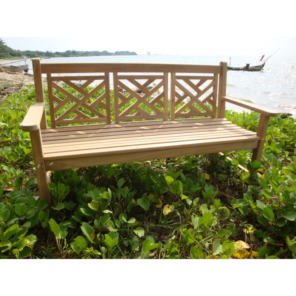 """59"""" Chippendale 3 Seater Teak Bench"""