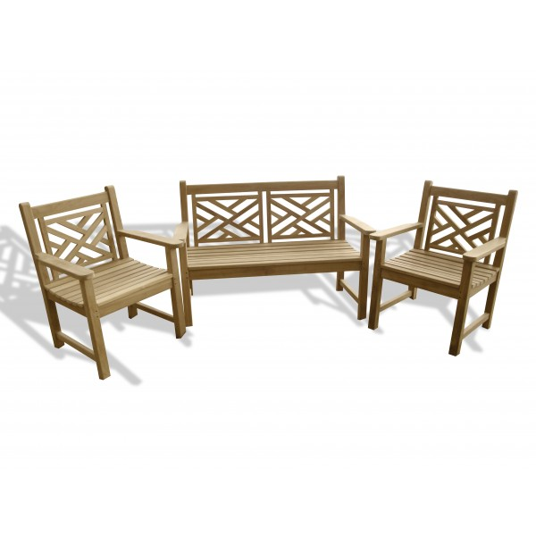 "Chippendale 3 Pc Teak Collection w/ One 48"" 2 Seater Bench and 2 Arm Chairs"