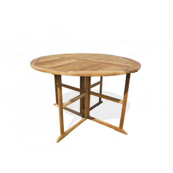 """Nassau 59"""" Round Drop Leaf Folding Teak Bar Table (seats 6)...use w/ 1 Leaf Up or 2....Makes 2 different tables (Counter height is 5"""" lower than bar)"""