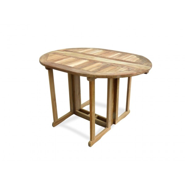 """Barcelona 48"""" x 35"""" Oval Drop Leaf Folding Dining Teak Table...use with 1 Leaf Up or 2.... Makes 2 different tables"""