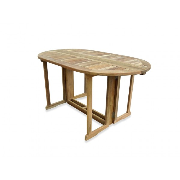 """Barcelona 60"""" x 35"""" Oval Drop Leaf Folding Dining Teak Table...use with 1 Leaf Up or 2.... Makes 2 different tables"""