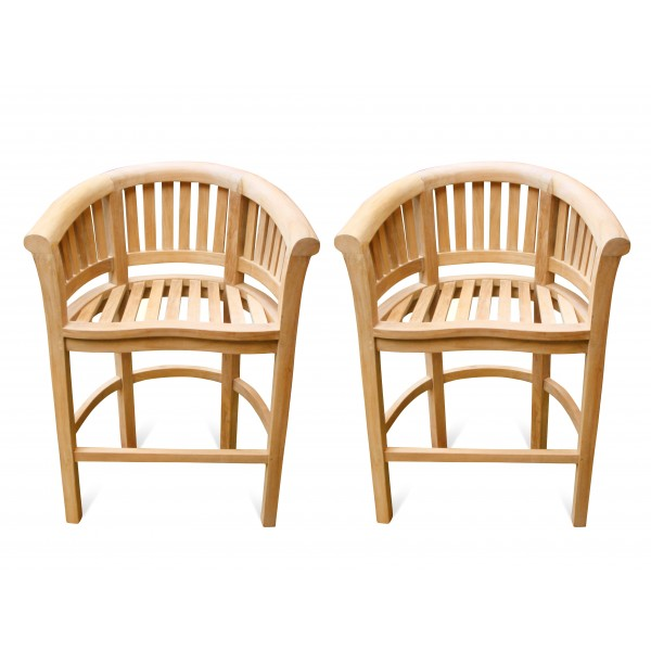Kensington Curved Teak Arm Bar chair. 2 Pack