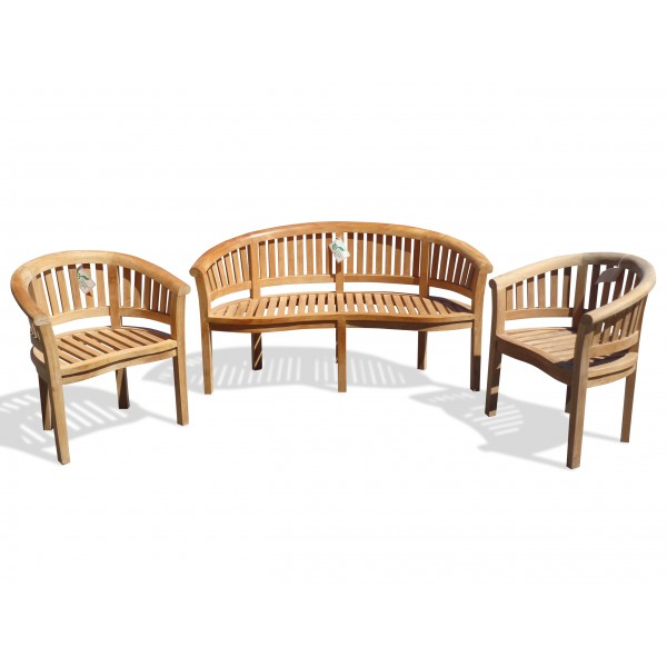 Kensington Teak 3 Pc Set, Curved 3 Seater Bench And 2 Armchairs